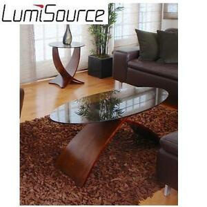 NEW LUMISOURCE COFFEE TABLE CRISS CROSS SMOKED GLASS TOP COFFEE TABLE 105523551