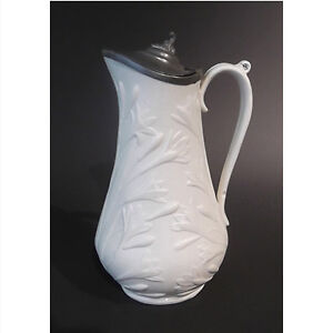 Victorian Salt-Glazed Syrup Pitcher with Pewter Lid