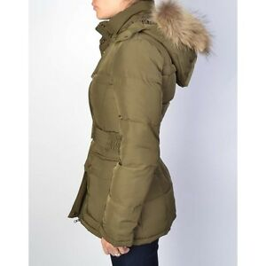 YDE Belted Down Winter Coat with Fur Trim in Olive Colour Kitchener / Waterloo Kitchener Area image 1