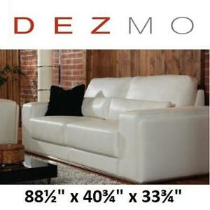 "NEW* DEZMO BONDED LEATHER SOFA - 121266664 - 88.5""x40.75""x33.75"" WHITE"