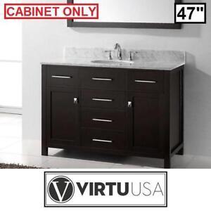 "NEW VIRTU USA 47"" VANITY CABINET - 122008772 - CAROLINE COLLECTION - ESPRESSO CABINET - BATHROOM FURNITURE DECOR BATH..."