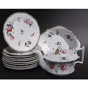 Antique English Floral Dessert Set