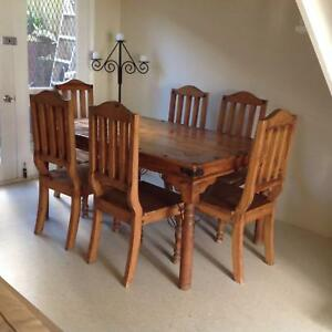 $200 Rustic Solid Wood 7 Piece Dining Set Leichhardt Leichhardt Area Preview