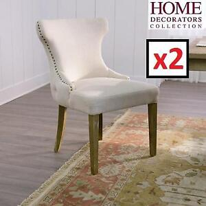 2 USED* HDC DINING CHAIRS - 129289374 - HOME DECORATORS COLLECTION NATURAL TEXTURED POLYESTER