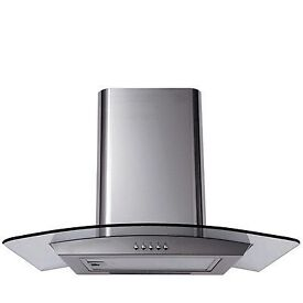 New 60cm Curved Glass Stainless Steel Cooker Hood Extractor Fan