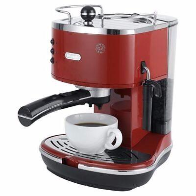 Delonghi Icona 15 Bar Pump Espresso Coffee Machine Retro Red In
