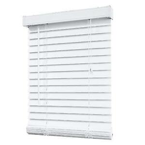 WHITE FAUX WOOD BLINDS. VARIOUS SIZES.