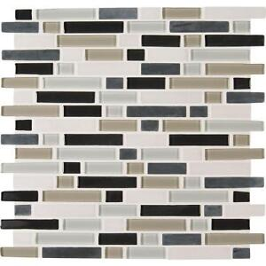 Palisade Interlocking 12 in. x 12 in. x 6 mm Glass Stone Tile