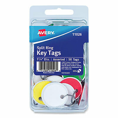 Key Tags With Split Ring 1 14 Dia Assorted Colors 50pack 11026 11026 - 1
