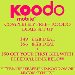 COMPLETELY FREE- KOODO $49 6GB OR $56 8GB DEAL- EXPIRES MAY 10TH