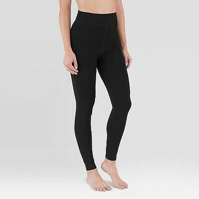 Women's Cozy Soft Velvet Lined Stretch Leggings - Wander By Hottotties Black MED