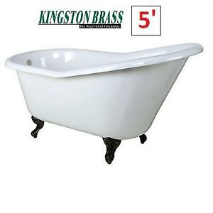 NEW* KINGSTON BRASS 5' BATH TUB HVCTND6030NT5 206979110 AQUA EDEN CAST IRON SLIPPER BATHROOM