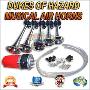 MUSICAL AIR HORNS, AIRHORNS 12V COMPRESSOR OPERATED DUKES OF HAZARD