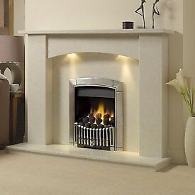 Sienna Marble Fireplace with Downlights