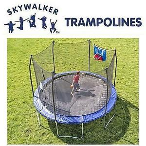 NEW* SKYWALKER 12' TRAMPOLINE SWJD12B 187529417 ROUND SAFETY ENCLOSURE W/ BASKETBALL HOOP TRAMPOLINES JUMPING JUMPS H...