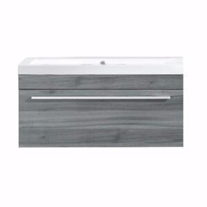 Vanité 1 tiroir avec lavabo en marbre synthétique blanc, Luxo Marbre