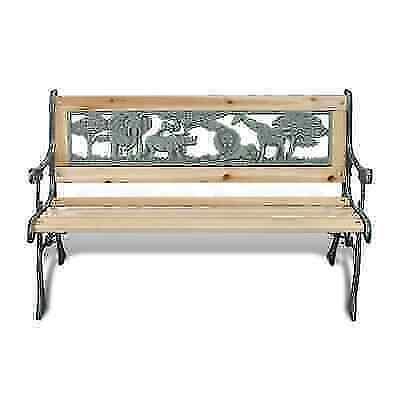 3-Seater Outdoor Wooden Garden Bench Cast Iron Legs Park Sea