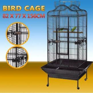 Large Black Stand-Alone Pet Bird Cage Parrot Budgie Canary Aviary