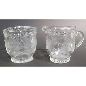 EAPG Creamer and Open Sugar in the Maple Leaf Pattern