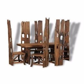 Teak Dining Table and Chairs made from whole trunk