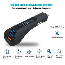 QC3.0 3-Port USB Universal Car Socket Mini Lighter Fast-Charger Adapter DC12-24V