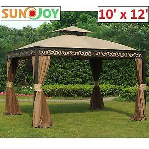 NEW* SUNJOY 10 x 12 GAZEBO L-GZ399PAL-B 250391567 SEABROOK ALUMINUM