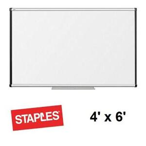 NEW STAPLES 4' x 6' DRY ERASE BOARD - 133837664 - WHITEBOARD OFFICE STORE BOARDROOM TEACHING CLASSROOM WHITEBOARDS DR...