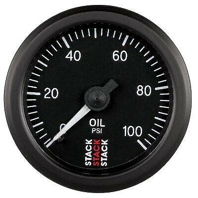 Stack 0-100 PSI Oil Pressure Gauge 52mm Mechanical Black Face Illuminated ST3102