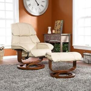 NEW* LEATHER RECLINER W/ OTTOMAN - 131337010 - HIGH BACK SOUTHERN ENTERPRISES W/ TABLE ACCESSORY TAUPE