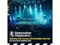 2 GATECRASHER CLASSICAL V2.1 TICKETS - STALLS - EXCELLENT SEATS