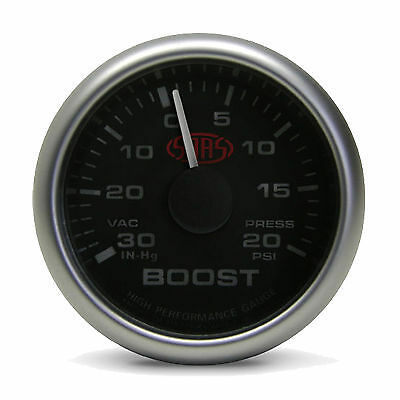 "SAAS 52MM 2"" INCH BLACK FACE MECHANICAL BOOST GAUGE 20 PSI MULTI COLOUR TURBO"