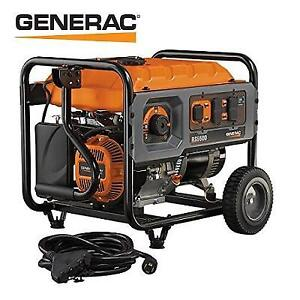 NEW GENERAC 5500W GAS GENERATOR 6672 159042215 PORTABLE WITH CORD