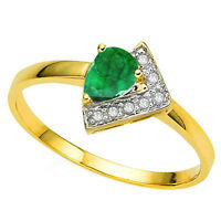 RING GENUINE DIAMOND GENUINE EMERALD10K SOLID GOLD