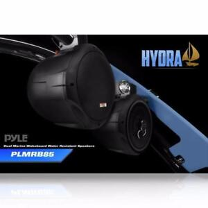 Pyle (PLMRB85) Dual Marine Wakeboard Water Resistant Speakers, 8-Inch 300 Watt (Pair) - Black