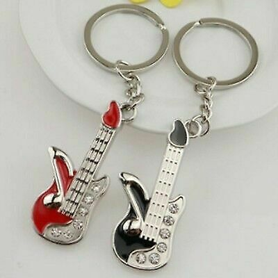 Fashion Mini Guitar Pendant Rhinestone Key Ring Chain Keyring Keychain Newly
