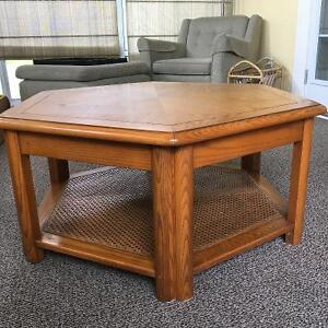 Cane Tiered Solid Oak Vintage Coffee Table