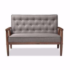 New, Baxton Studio Sorrento Mid-century Retro Modern Grey Fabric Upholstered Wooden 2 Seater Loveseat *PickupOnly