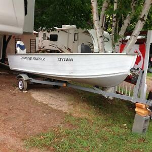 For sale, 14 foot Sylvan boat, 15 hp Evinrude, and trailer