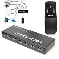 1080P 5 Port HDMI Switch Remote Selector For DV HDTV PS3 DVD PC,