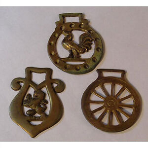 Three Vintage Horse Brasses