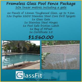 Frameless Glass Pool Fence Package - 10m Inc Gate - Awesome Value