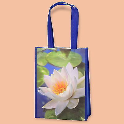 PACK OF 10 ECO NON WOVEN SHOPPING BAGS BLUE PRINTERED WATHER-LILY 30x11/39,5 cm