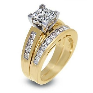 Yellow Gold Engagement Ring 2.00CT & Wedding Band Set Limited