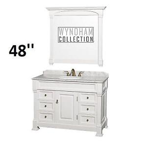 NEW* WYNDHAM 48'' BATHROOM VANITY WCVTS48WHCW 172821940 WHITE FINISH MARBLE TOP WITH MIRROR