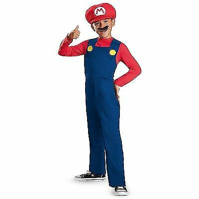 Super Mario Brothers Red Mario Classic Boy Kids Costume Halloween Cosplay S/M/Lw - Classic Kid Halloween Costumes