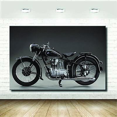 Quadri Vintage Moto d'Epoca Nera Retro Style Stampa su tela Arte Arredo - 12...