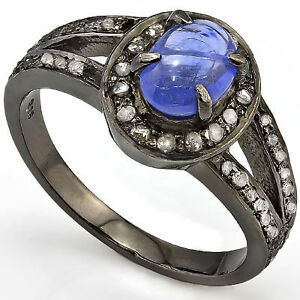 1.00 CT Sapphire & Diamond 14K Black Gold Plated 925 Silver Ring