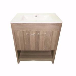 2 doors vanity by Luxo Marbre, white porcelain sink, 3 color choices