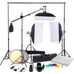 Fotostudio set met 3x studio flitser 3x softbox en 3x sta...