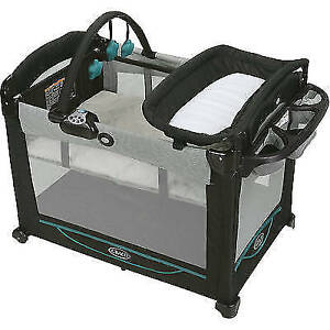 Graco Lt. Green Playpen & Change Table with Vibrator